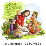 Vector illustration for Jesus reading the Bible with Children. Also available raster and outlined version
