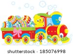 easter chick on a toy train | Shutterstock .eps vector #185076998
