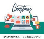 christmas new normal. people... | Shutterstock .eps vector #1850822440