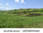 A Field With An Embankment. In...