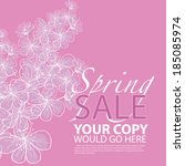 pretty floral spring sale... | Shutterstock . vector #185085974