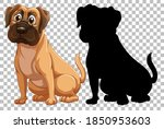 boxer dog and its silhouette...   Shutterstock .eps vector #1850953603