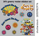 70s retro groovy hippie logo...   Shutterstock .eps vector #1850982976