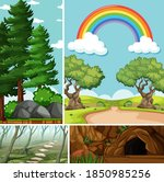 four different scenes in nature ... | Shutterstock .eps vector #1850985256