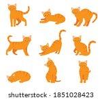 cartoon cat set with different... | Shutterstock .eps vector #1851028423