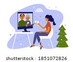 young woman and her parents... | Shutterstock .eps vector #1851072826