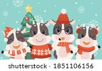 the character of cute cow and... | Shutterstock .eps vector #1851106156