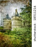 old medieval castle - picture in vintage  style - stock photo