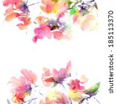 floral background. watercolor... | Shutterstock . vector #185113370