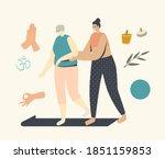 female trainer help to elderly...   Shutterstock .eps vector #1851159853