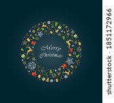 christmas wreath with christmas ... | Shutterstock .eps vector #1851172966