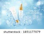 bottles of cosmetics in icy... | Shutterstock .eps vector #1851177079