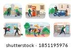 set of vandals hiding under... | Shutterstock .eps vector #1851195976