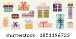 set of doodle gift boxes ... | Shutterstock .eps vector #1851196723