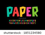 paper cut out font  alphabet... | Shutterstock .eps vector #1851234580