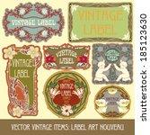 vector vintage items  label art ... | Shutterstock .eps vector #185123630