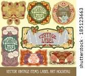 vector vintage items  label art ... | Shutterstock .eps vector #185123663