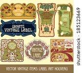 vector vintage items  label art ... | Shutterstock .eps vector #185123669