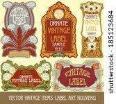 vector vintage items  label art ... | Shutterstock .eps vector #185123684