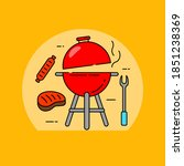 barbecue grill concept vector...   Shutterstock .eps vector #1851238369