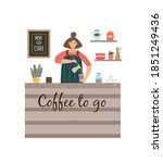 coffee to go counter with...   Shutterstock .eps vector #1851249436