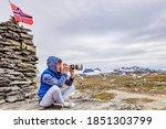 Tourist Woman Enjoy Mountains...