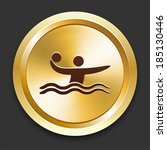 water polo icons on gold button ... | Shutterstock .eps vector #185130446