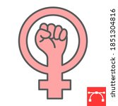 feminism color line icon  fist... | Shutterstock .eps vector #1851304816