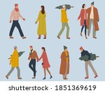 stylish group of isolated...   Shutterstock .eps vector #1851369619