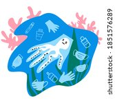 coronavirus plastic waste... | Shutterstock .eps vector #1851576289