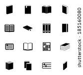 vector black  book  icons set... | Shutterstock .eps vector #185160080