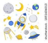 set of illustration on cosmic...   Shutterstock .eps vector #1851606013