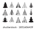 hand drawn christmas tree icon...   Shutterstock .eps vector #1851606439
