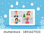 video conference with people... | Shutterstock .eps vector #1851627523