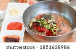 cold noodles with spicy sauce... | Shutterstock . vector #1851638986