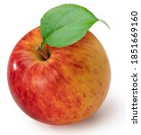 Red Apple With Leaves Isolated...