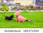 Stock photo adorable little girl playing with her puppy outdoor 185171354