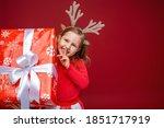 Happy Little Girl In Reindeer...