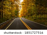 Forest Highway Road In Autumn....