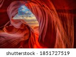 Red rock sandstone cave view....