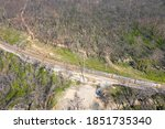 Aerial View Of A Train Running...