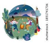 people traveling on adventure ... | Shutterstock .eps vector #1851741736