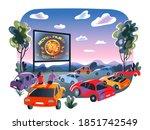 outdoor cinema  open air movie... | Shutterstock .eps vector #1851742549