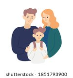 parents hug and support child... | Shutterstock .eps vector #1851793900