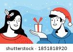 Guy In A Santa Hat Gives Girl...