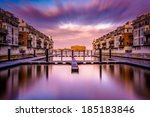long exposure at sunset of... | Shutterstock . vector #185183846