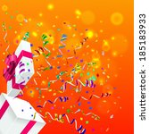 open gift and confetti. vector... | Shutterstock .eps vector #185183933
