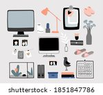 cozy home accessories kit.... | Shutterstock .eps vector #1851847786