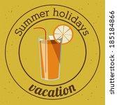 summer design over yellow... | Shutterstock .eps vector #185184866