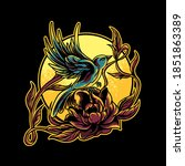 humming bird and rose...   Shutterstock .eps vector #1851863389